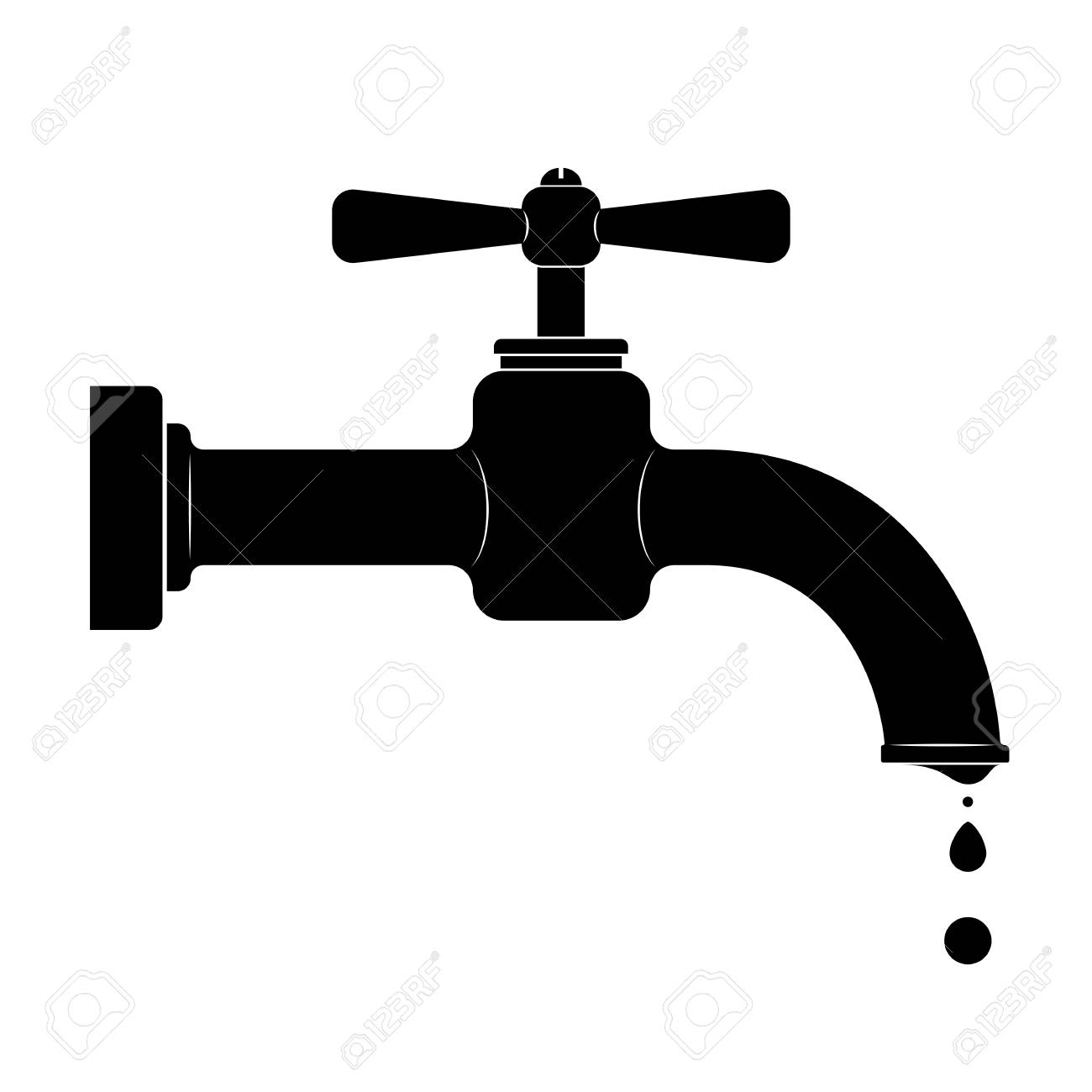 Black Outline Of An Old Faucet With Leak. Royalty Free Cliparts ...