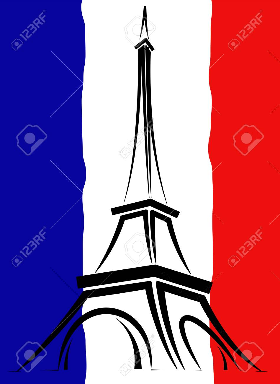 Abstract logo or sign for France, Paris and Eiffel Tower. - 121639843
