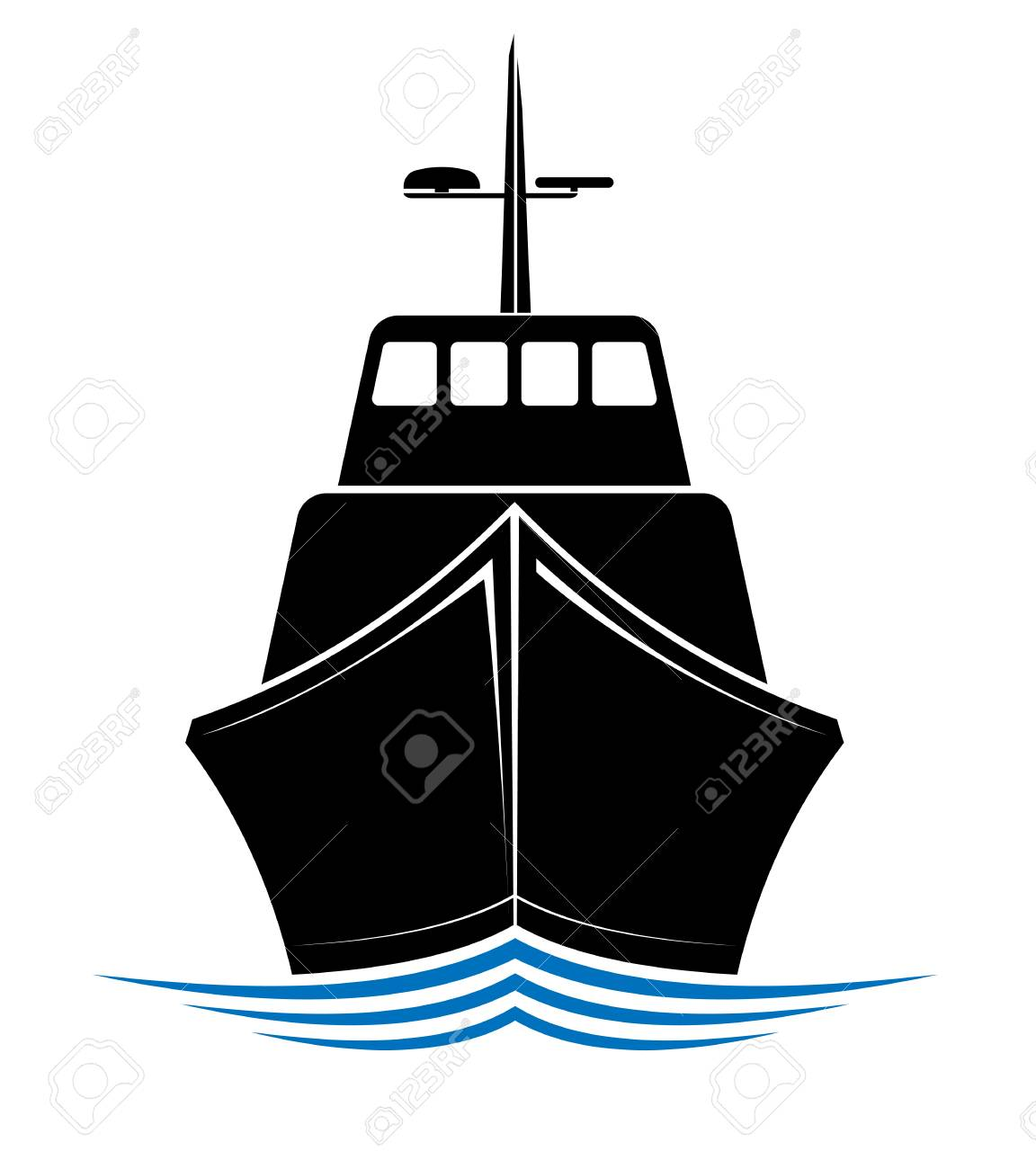 Frontal view of a floating ship, tug or boat  Logo for sea, ocean
