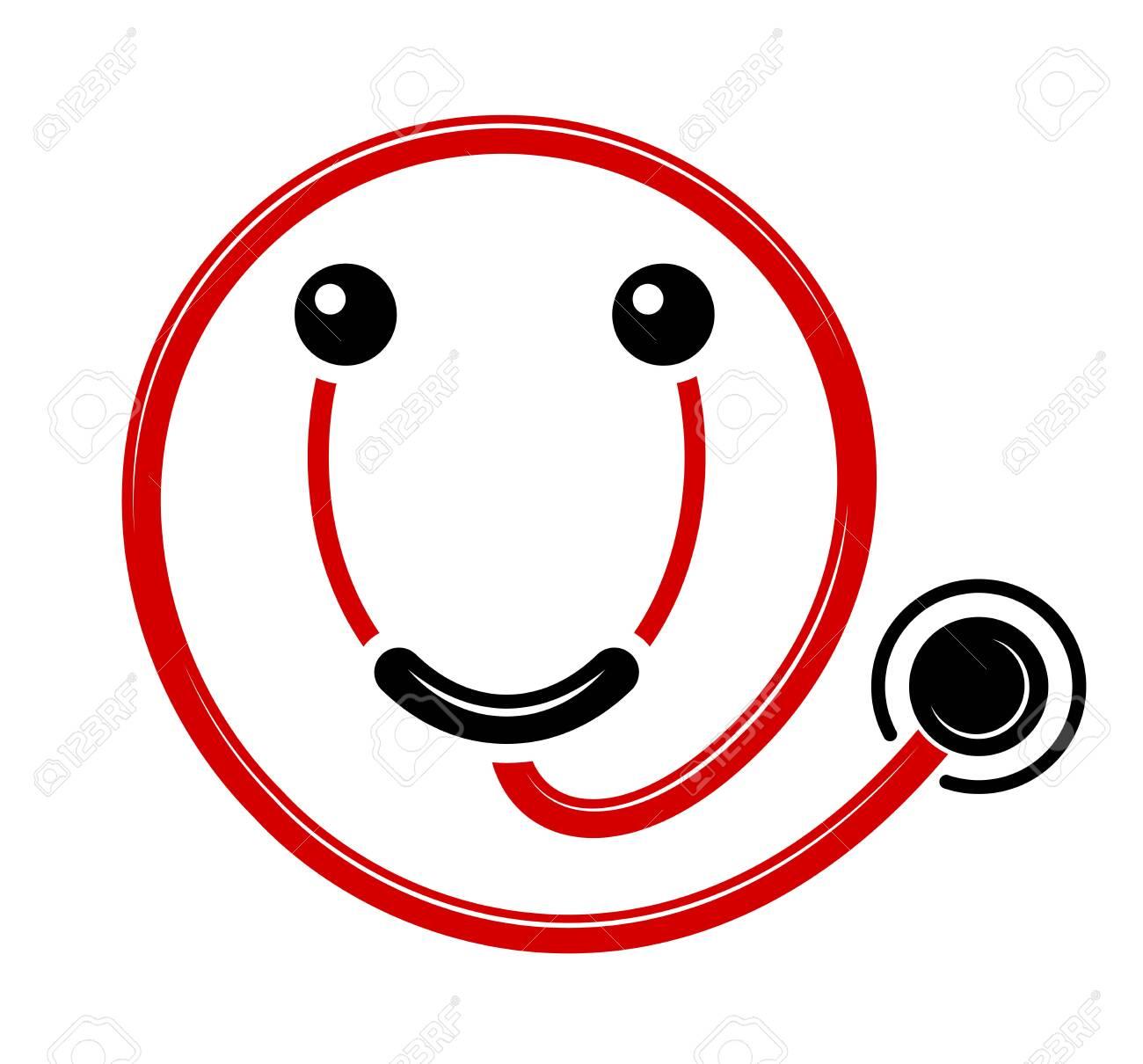 Logo of modern friendly medicine. Pleasant service in the hospital. Smile in the form of a stethoscope. Good doctor. - 130137053