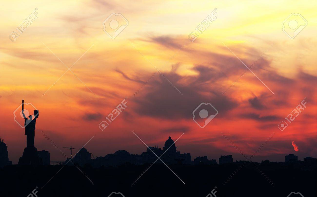 Kiev skyline with beautiful yellow sky at sunset Stock Photo - 10718892