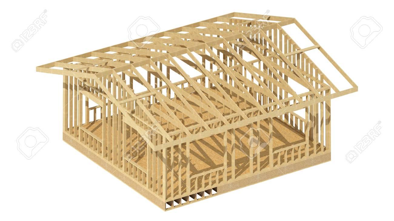 Dreidimensionales Bild Von Einem Holzrahmen Haus. Lizenzfreie Fotos ...
