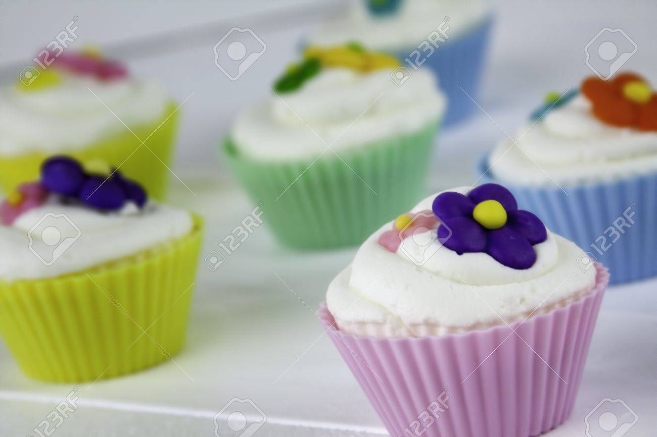 Pastel Spring Flower Cupcakes Stock Photo Picture And Royalty Free