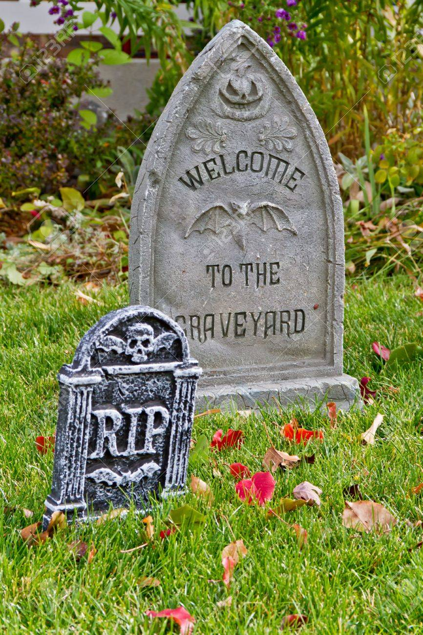 halloween tombstones decorations in yard stock photo picture and large halloween tombstones