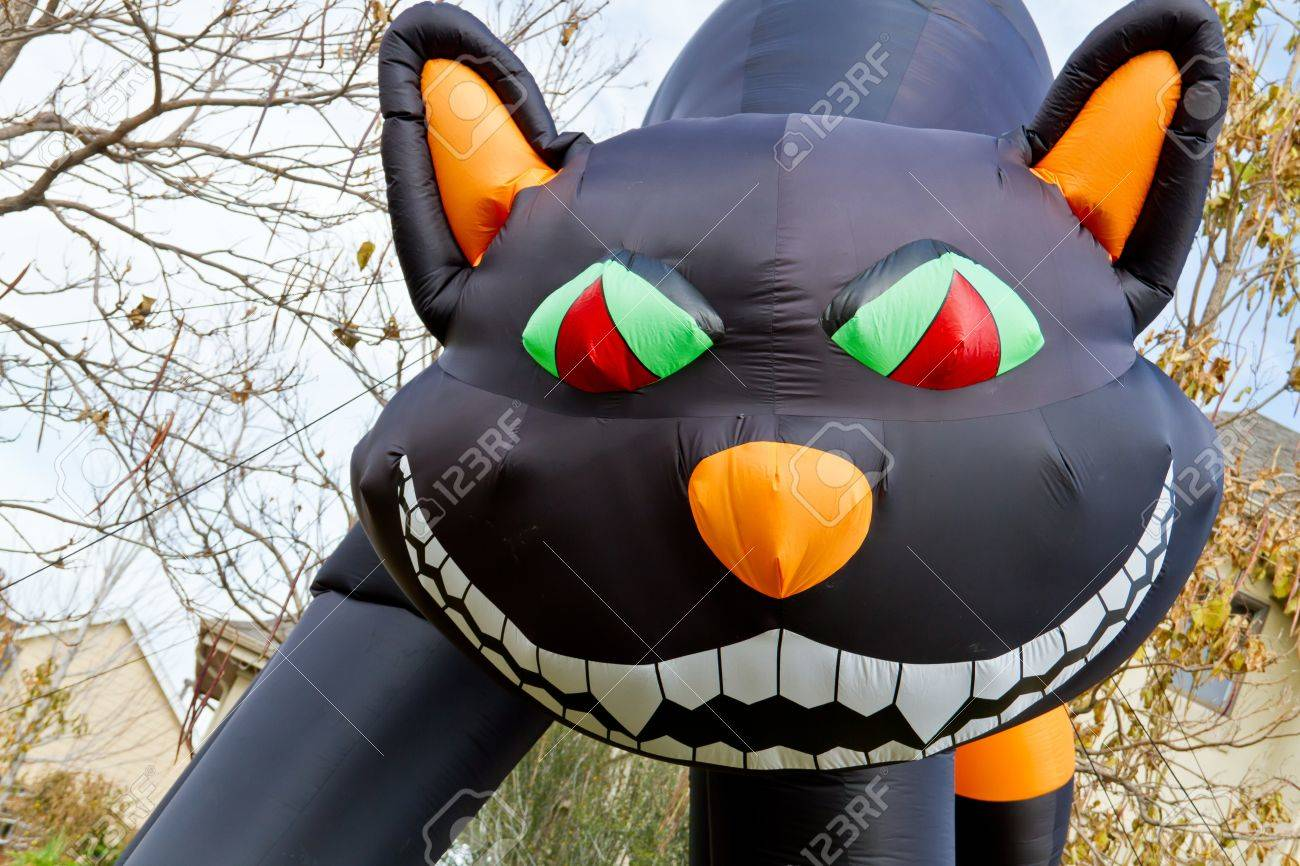 Close Up Of Large Inflatable Halloween Black Cat Lawn Decoration