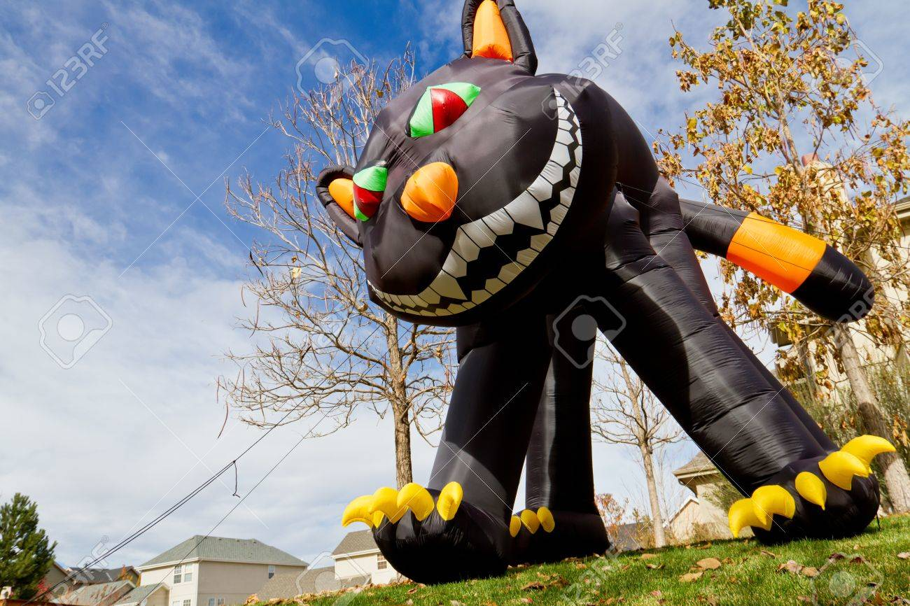 Large Inflatable Halloween Black Cat Lawn Decoration Stock Photo