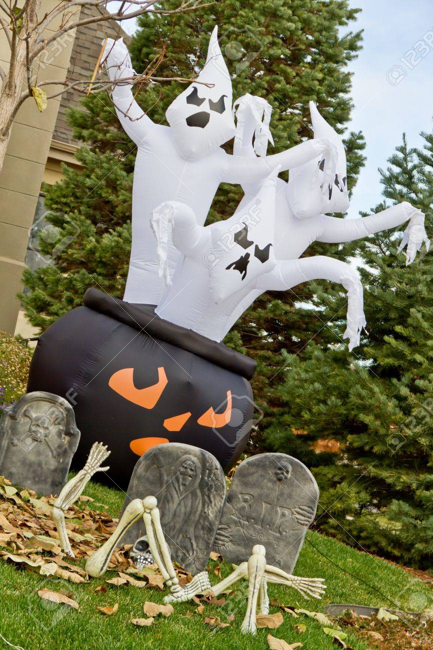 Inflatable Halloween Ghosts Lawn Decorations Stock Photo Picture