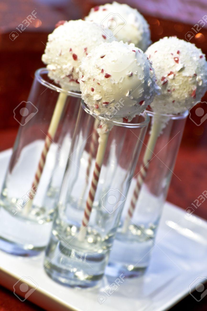 Weihnachten Zuckerstange Abgedeckt Kuchen Pop In Dessert ...