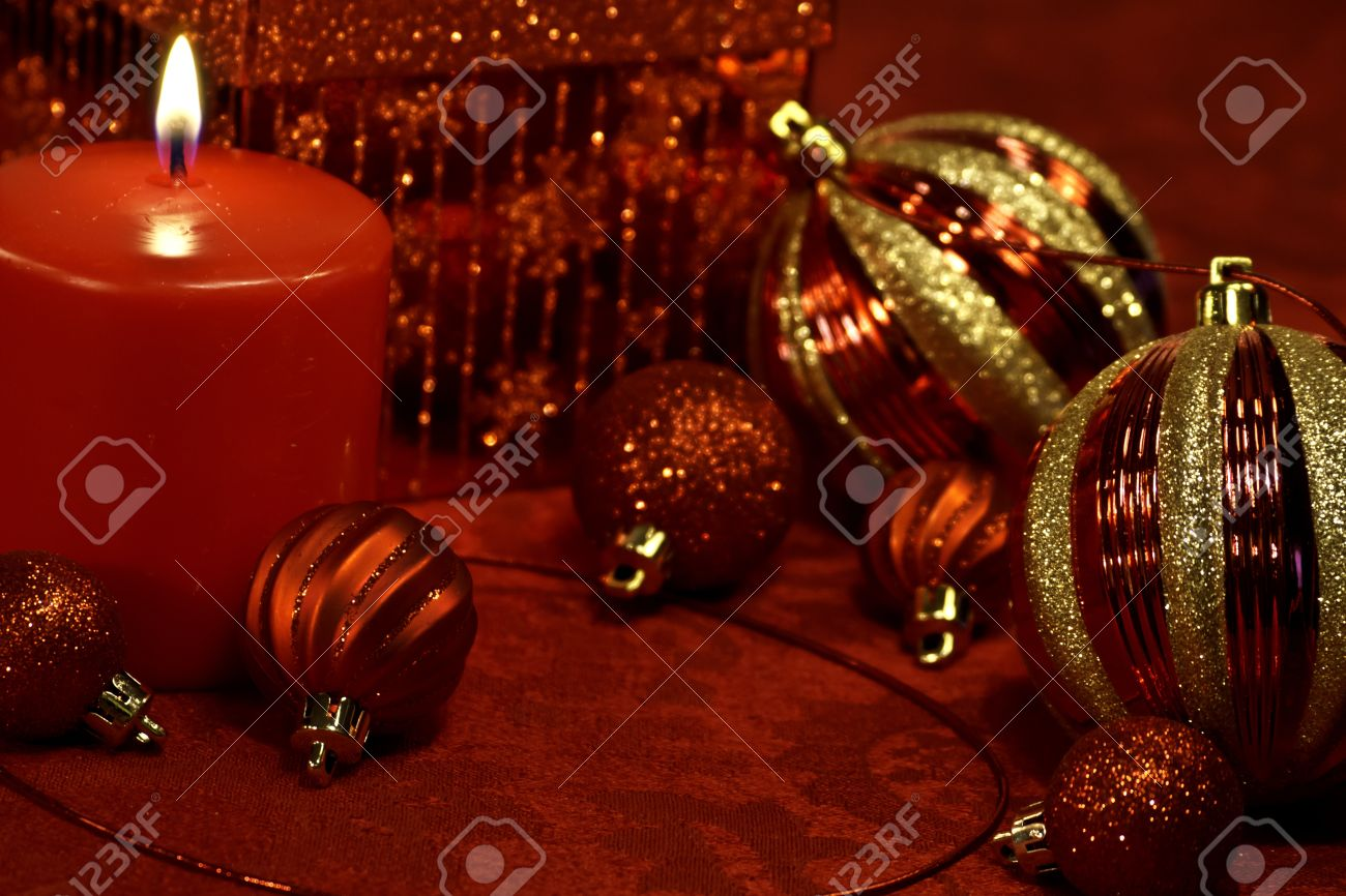 Christmas table decorations red and gold - Festive Holiday Table With Red And Gold Glitter Christmas Decorations Stock Photo 16510121