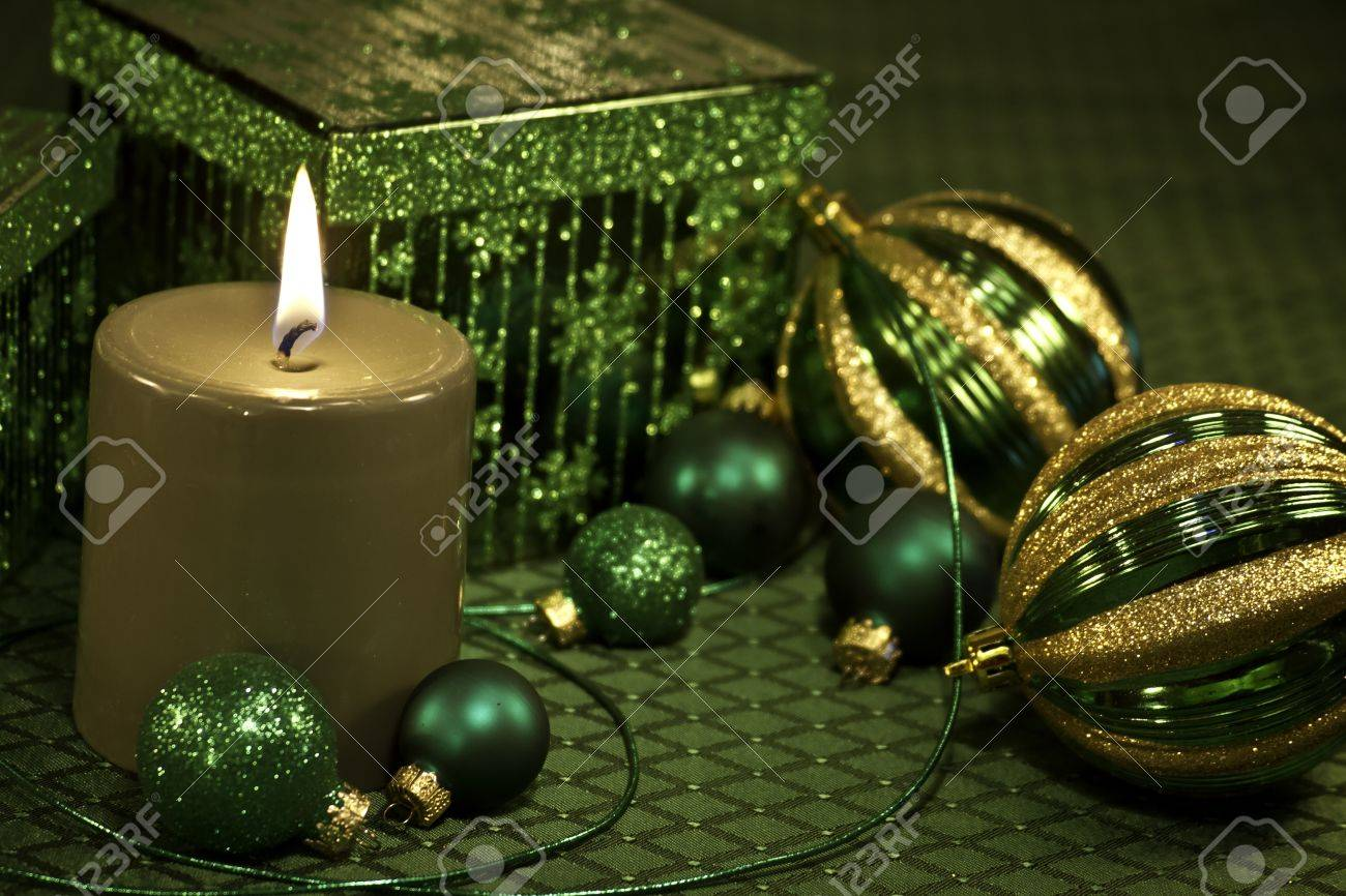 Festive Christmas decorations on green tablecloth Stock Photo - 16510147