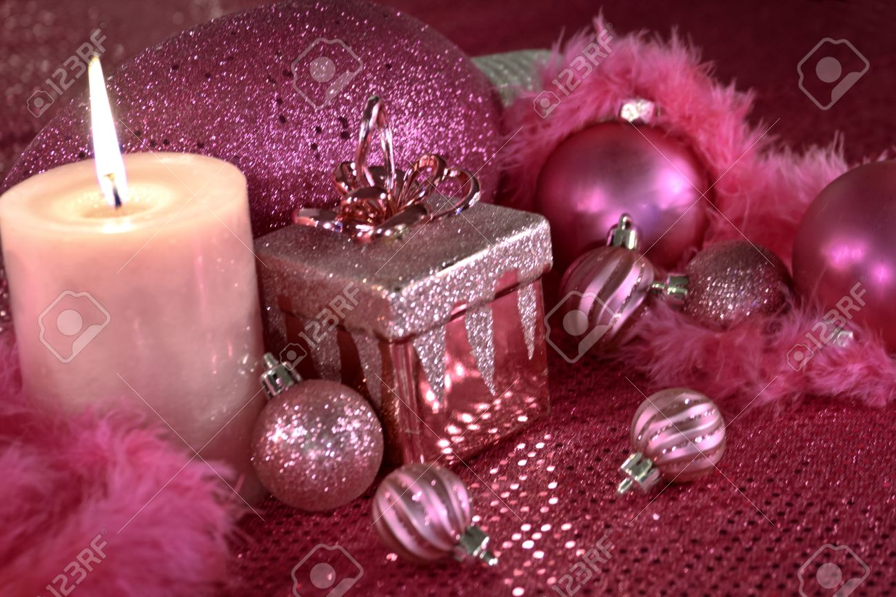 Hot Pink Christmas Decorations With Present, Feather Garland ...