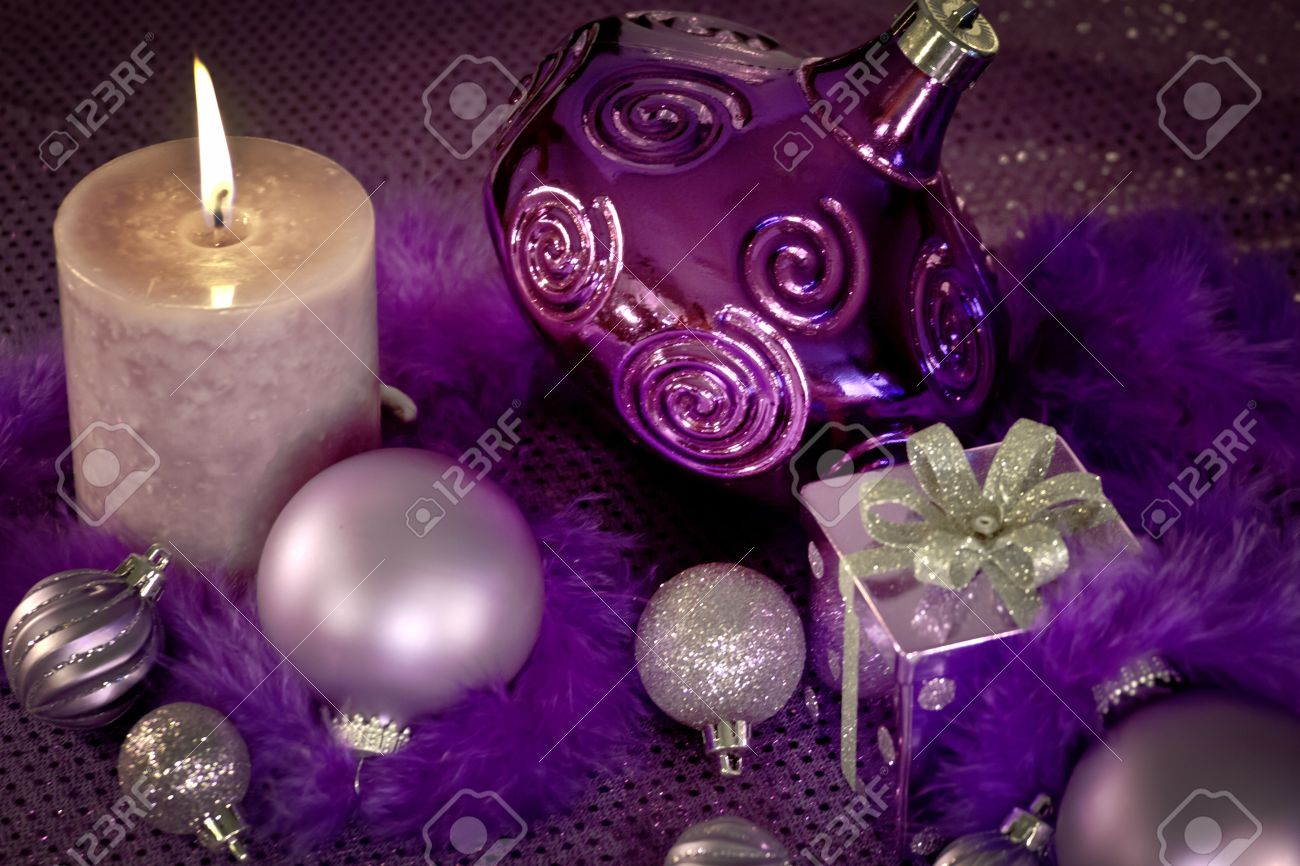 Lavender christmas ornaments - Purple Christmas Ornaments Present Feather Garland And Lighted Candle Stock Photo 16510201