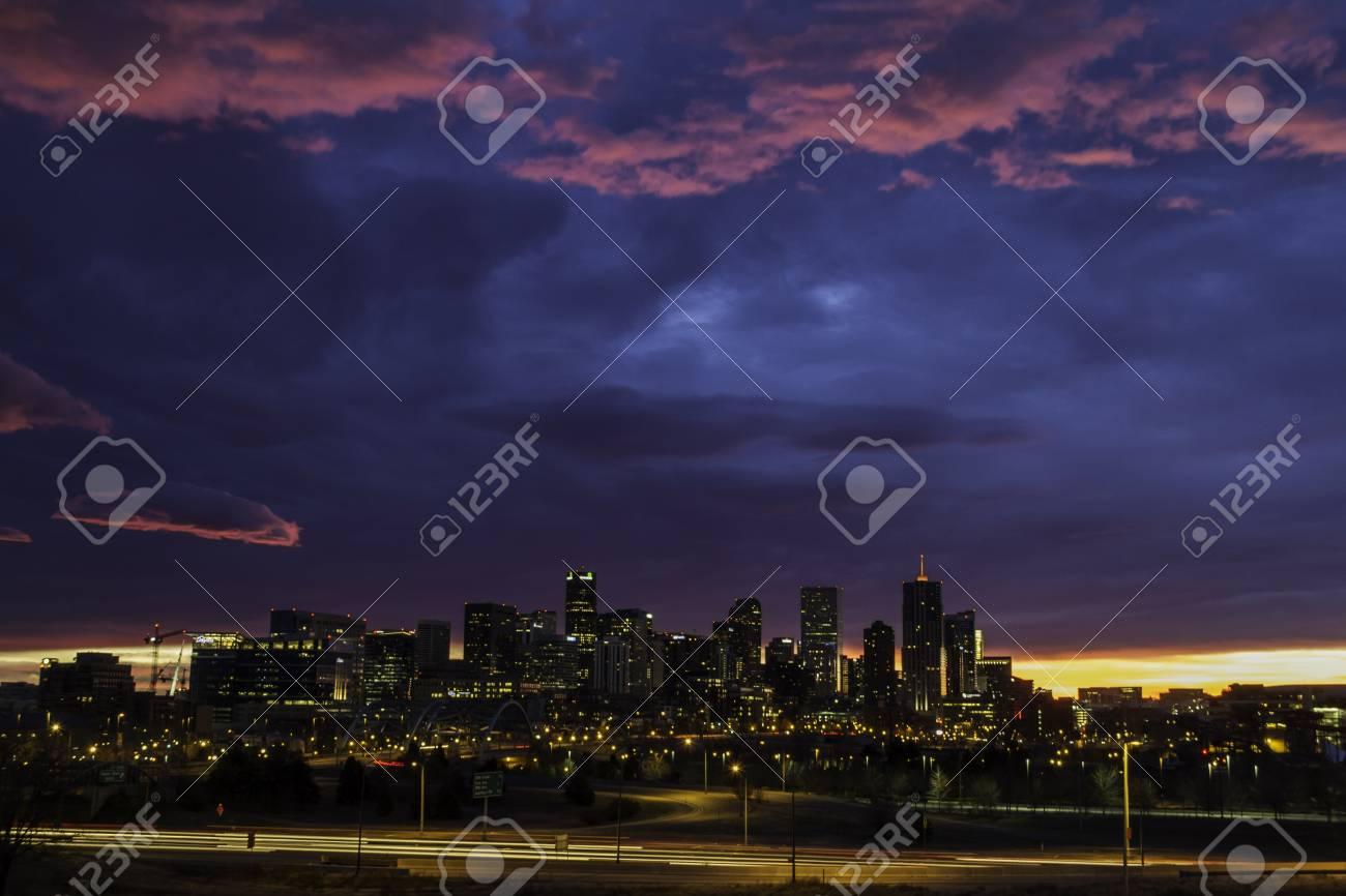 Dramatic winter sunrise sky over Denver skyline Stock Photo - 16734014