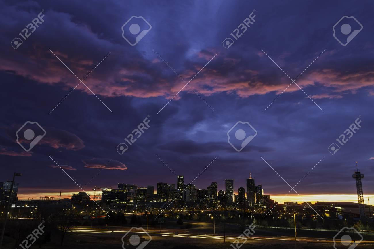 Gorgeous colorful sunrise over Denver skyline in December Stock Photo - 16733986