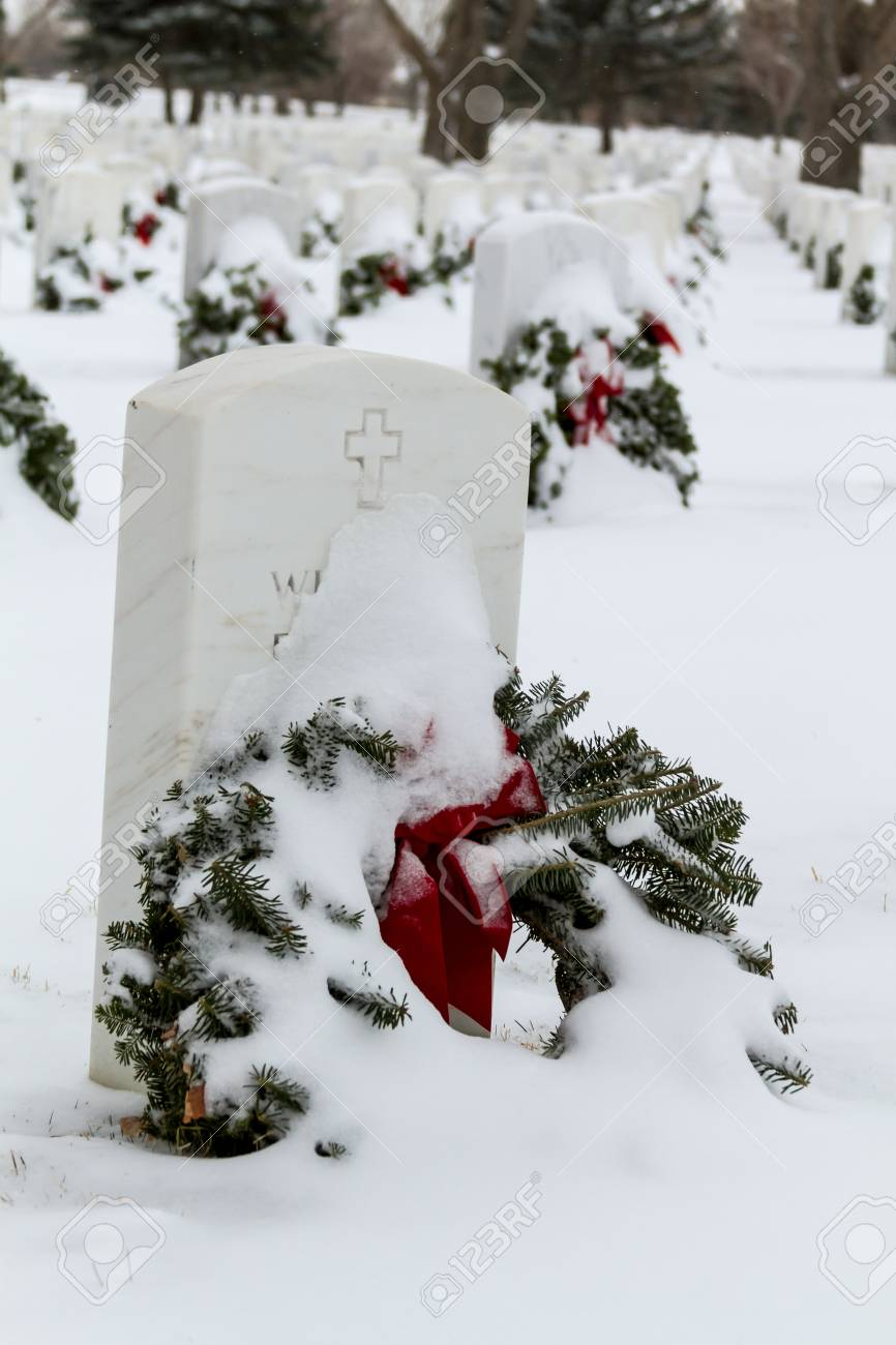 2012 Wreaths Across America at Fort Logan National Cemetery Colorado Stock Photo - 17044834