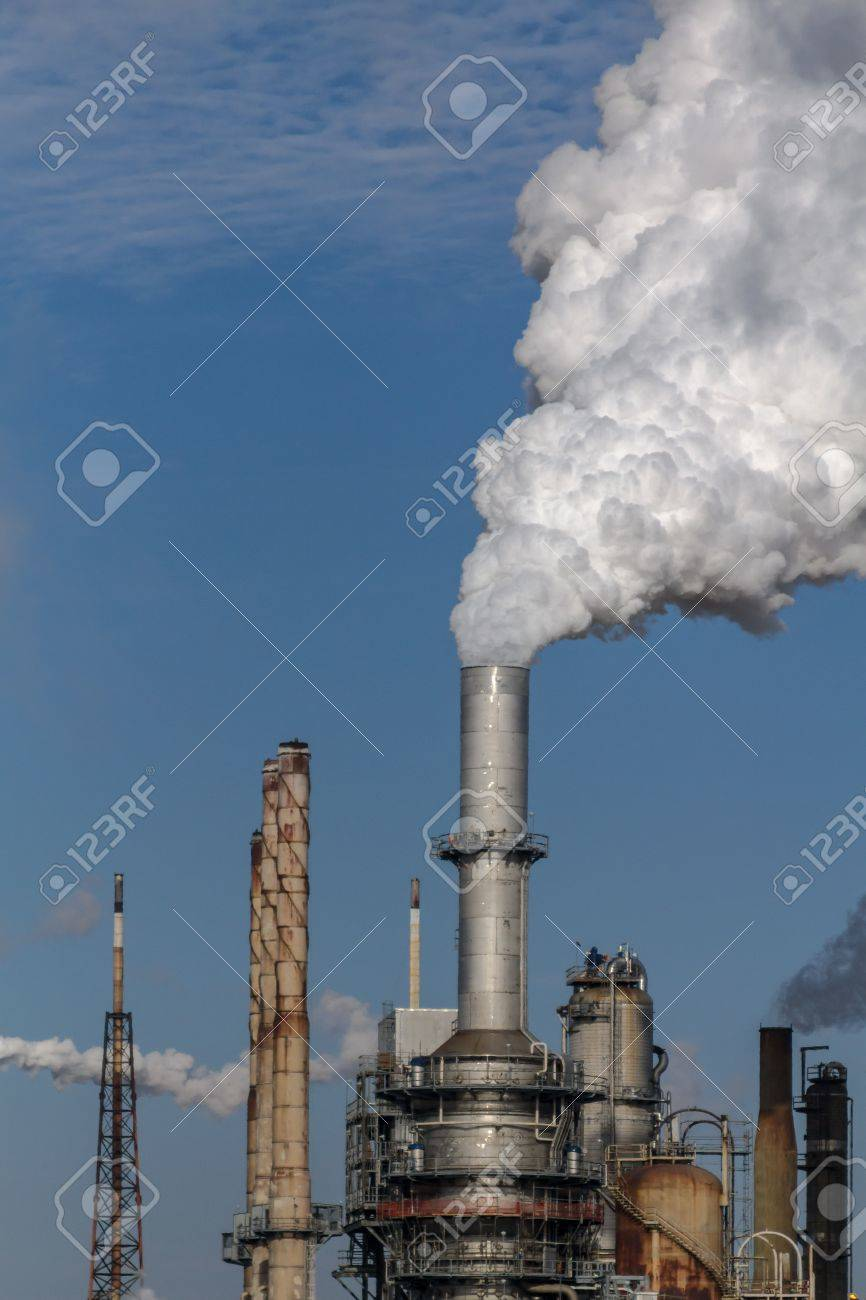 Air pollution from Chicago Petroleum Oil Production Plant near Illinois Michigan Canal Stock Photo - 17237182