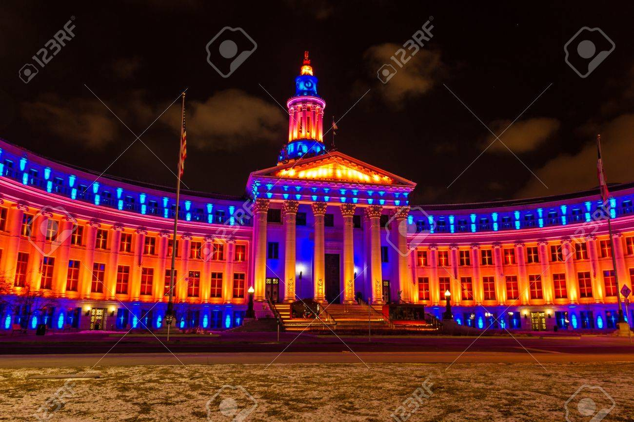 2013 Denver City and County Building special lighting in Denver Broncos orange and blue for the 2013 NFL Playoffs Stock Photo - 17298271