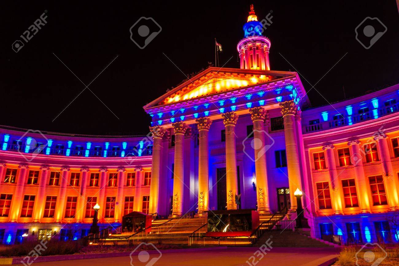 2013 Denver City and County Building special lighting in Denver Broncos orange and blue for the 2013 NFL Playoffs Stock Photo - 17298270