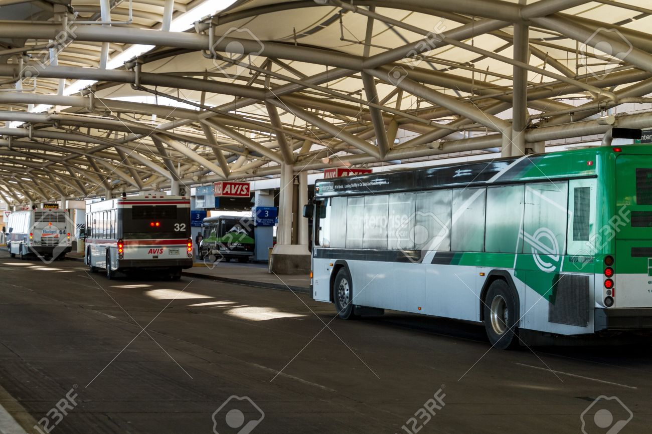 Car rental buses drop off and pickup at denver international airport stock photo 17403474