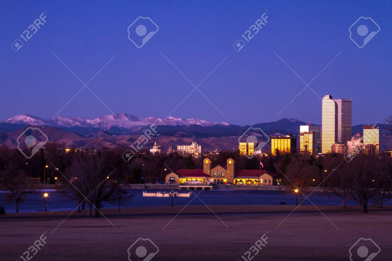 Denver Colorado skyline at sunrise, during winter, from City Park and Denver Museum of Science and Nature Stock Photo - 17503190
