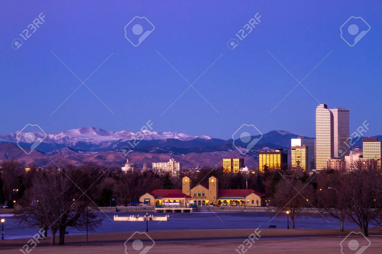Denver Colorado skyline at sunrise, during winter, from City Park and Denver Museum of Science and Nature Stock Photo - 17503171