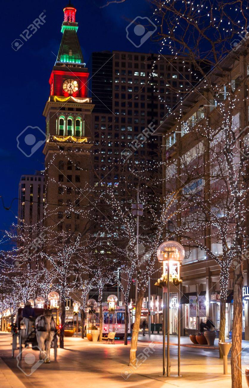 Christmas decorations on the 16th Street Mall in Denver Colorado Stock Photo - 17523581