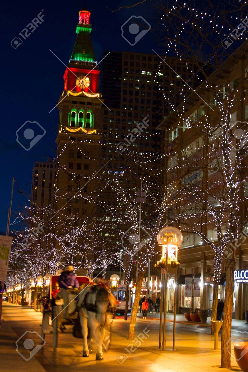 Downtown Denver 16th Street Mall Decorated For Christmas Stock Photo ...