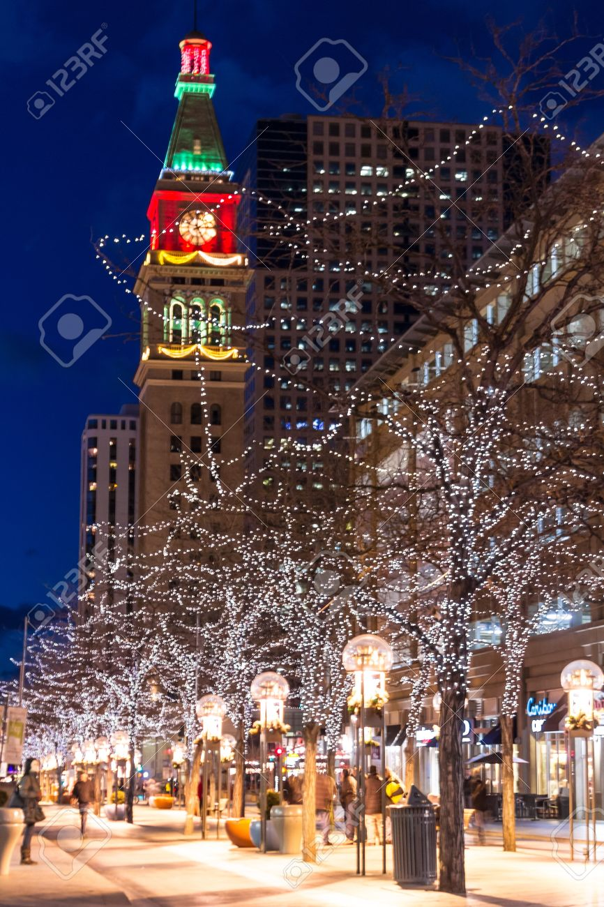 Downtown Denver 16th Street Mall Decorated For Christmas Stock ...