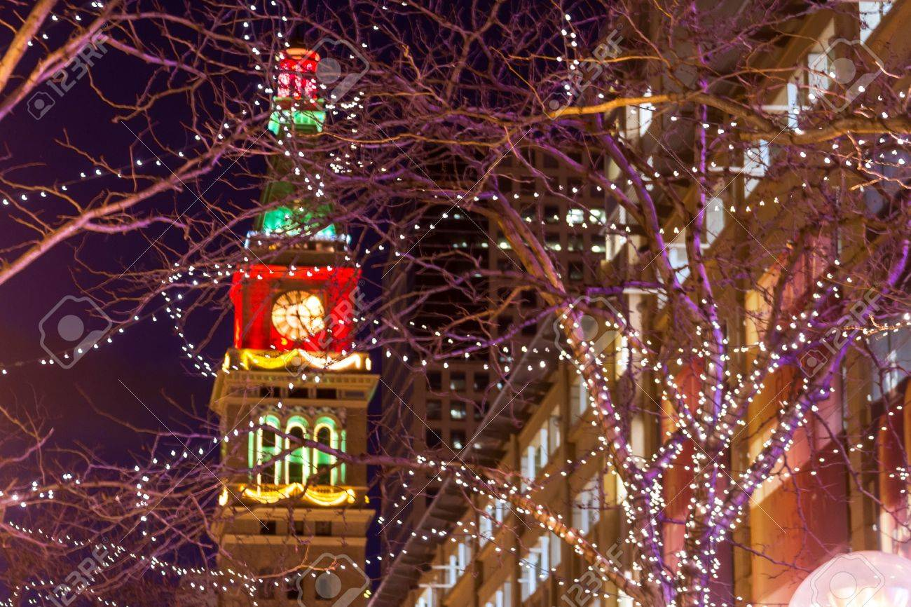 Denver 16th Street Mall Decorated With Christmas Lights Stock Photo    17523582