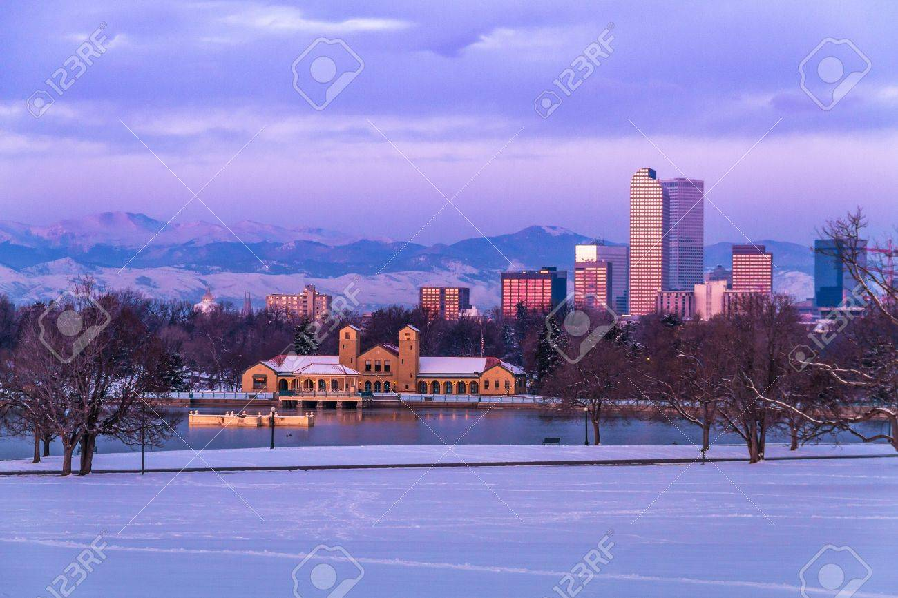 Denver Colorado skyline at sunrise, day after snow storm in winter, from City Park and Denver Museum of Science and Nature Stock Photo - 18063122