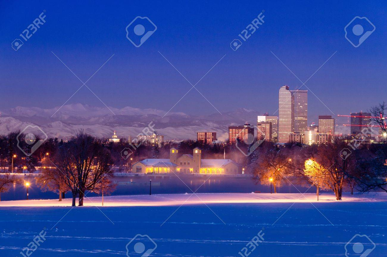 Denver Colorado skyline at sunrise, day after winter snow storm from City Park and Denver Museum of Science and Nature Stock Photo - 18144972