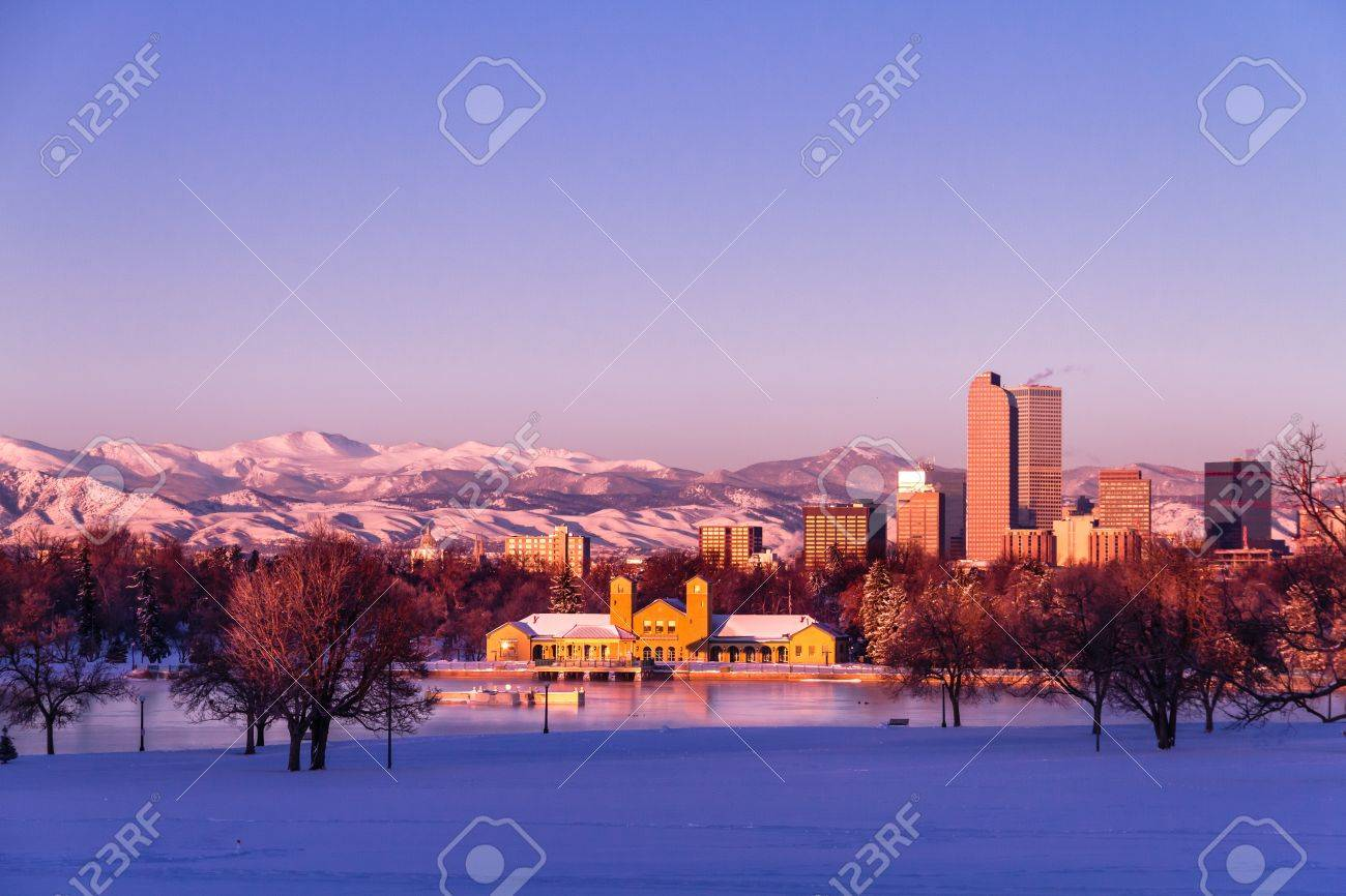 Denver Colorado skyline at sunrise, day after winter snow storm from City Park and Denver Museum of Science and Nature Stock Photo - 18144973