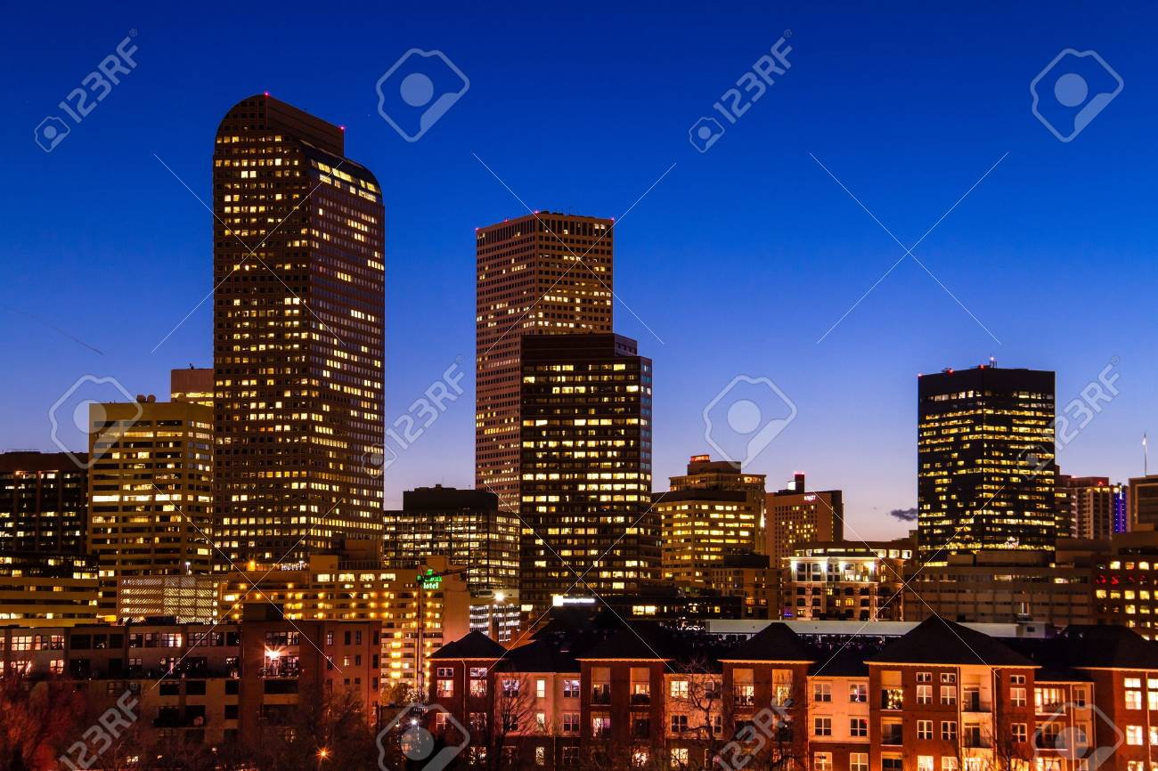 Close up of Denver Colorado skyline at dusk during the blue hour with lighted buildings Stock Photo - 18328777