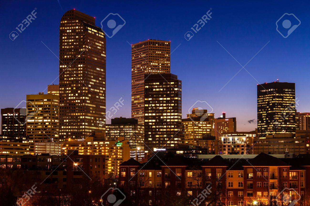 Close up of Denver Colorado skyline at dusk during the blue hour with lighted buildings Stock Photo - 18328767