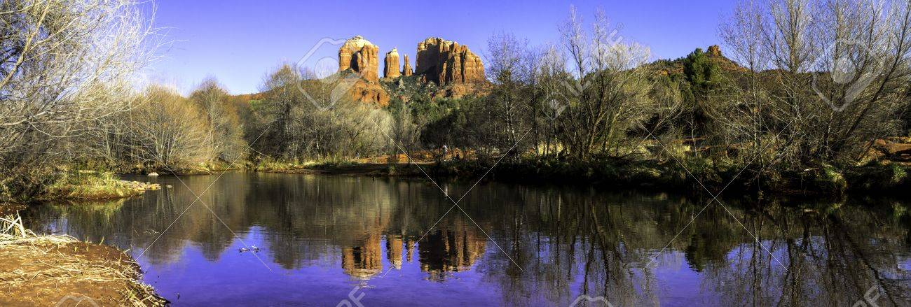 Panorama of evening sunset at Cathedral Rock at Red Rocks Crossing on Oak Creek in Sedona Arizona Stock Photo - 18964286