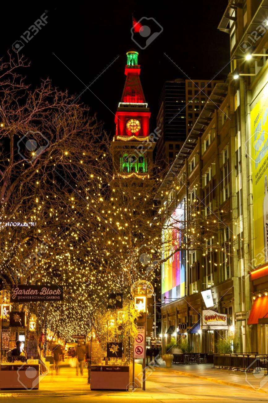 DENVER COLORADO / USA - December 13, 2015: Holiday Light Display ...