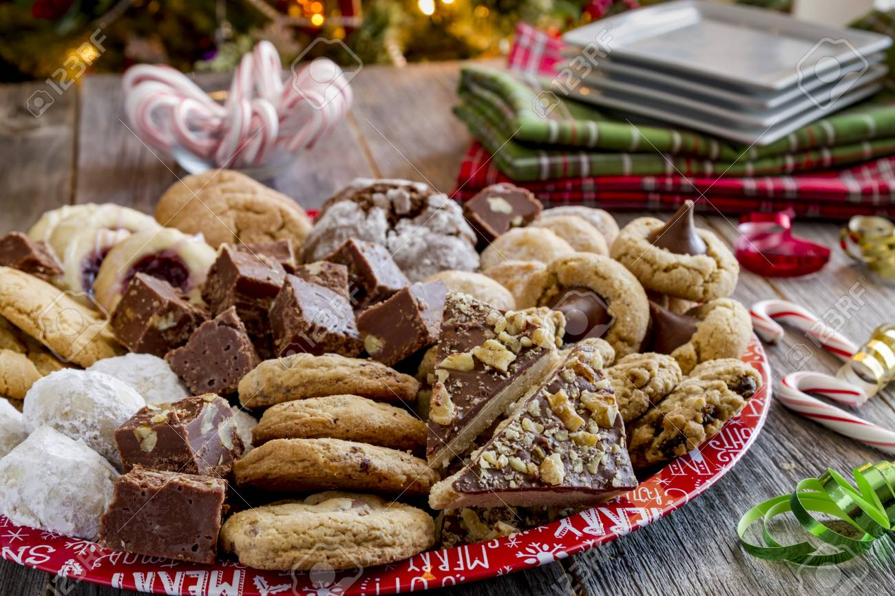 Homemade Holiday Cookie Tray With White Plates Holiday Napkins