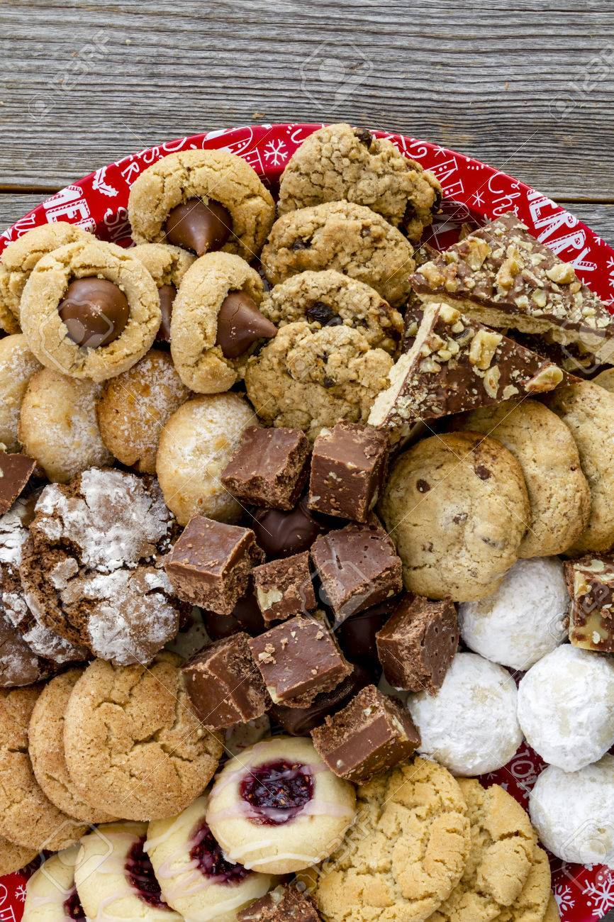 Close Up Of Homemade Holiday Cookies And Candy On Round Tray