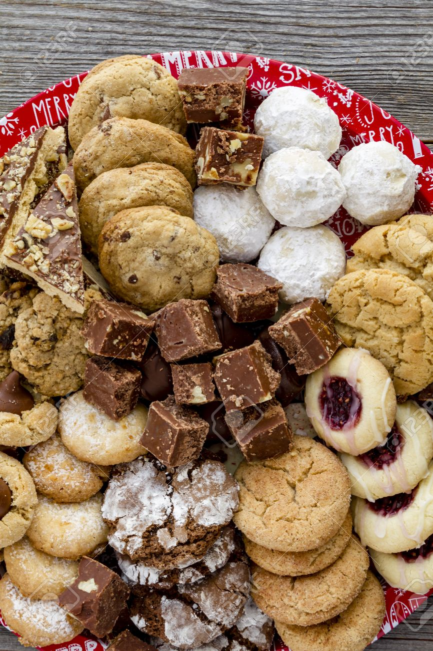 Close Up Of Homemade Holiday Cookies And Candy Tray Portrait