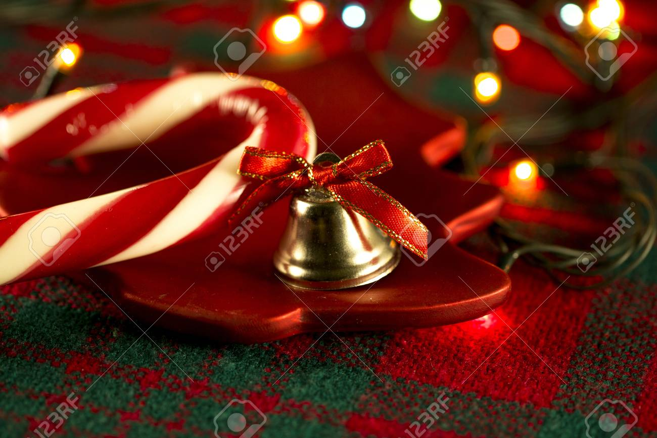 Christmas Tablecloths.Candy Cane On A Background Of Christmas Tablecloths And Christmas