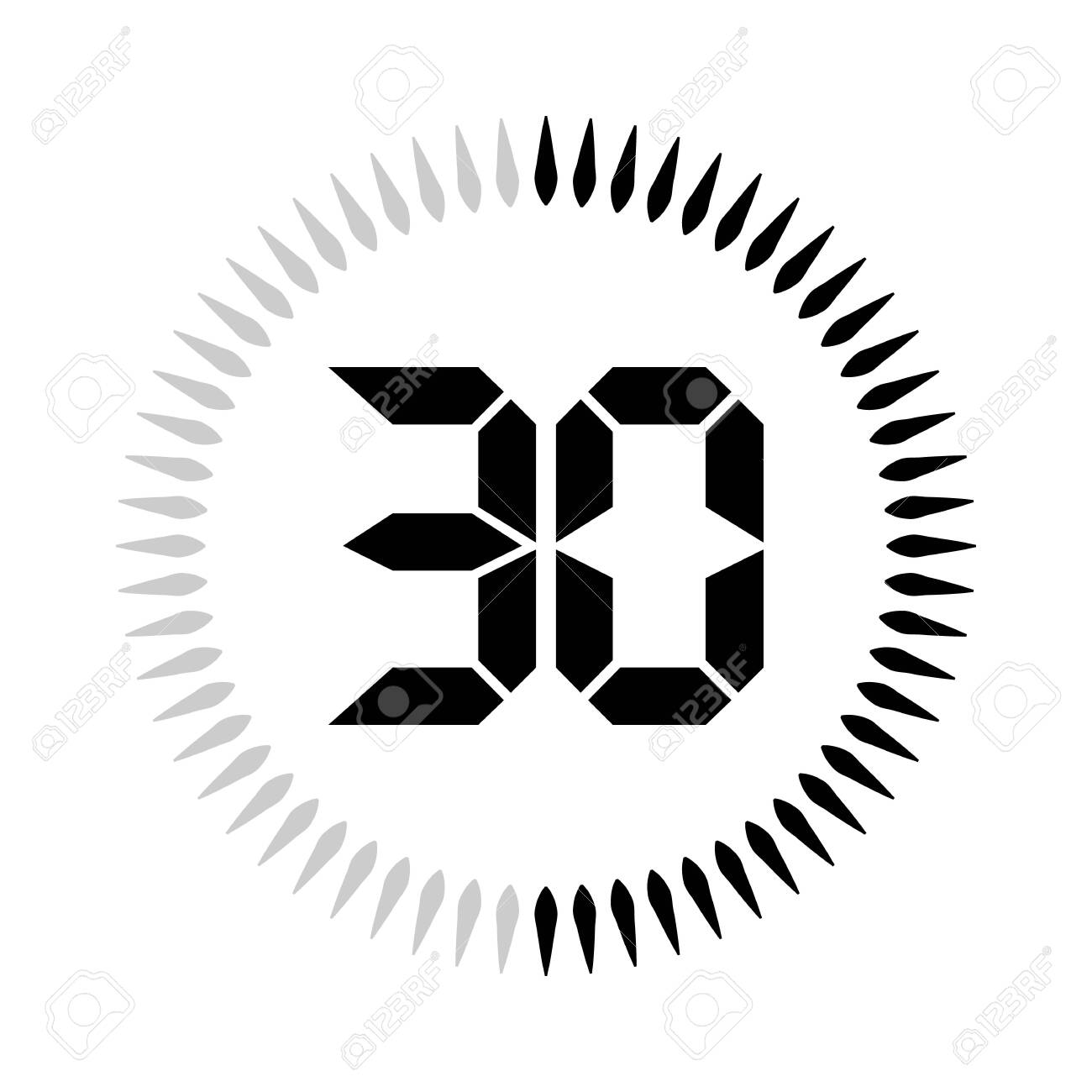 The 30 minutes or seconds, stopwatch vector icon, digital timer. clock and watch, timer. - 127834602