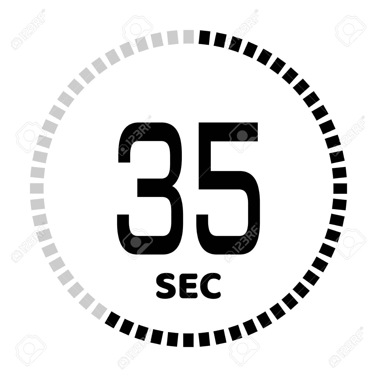 The 35 seconds, stopwatch icon, digital timer. Digital Countdown Timer Vector Icon. Clock and watch, timer. - 127834363