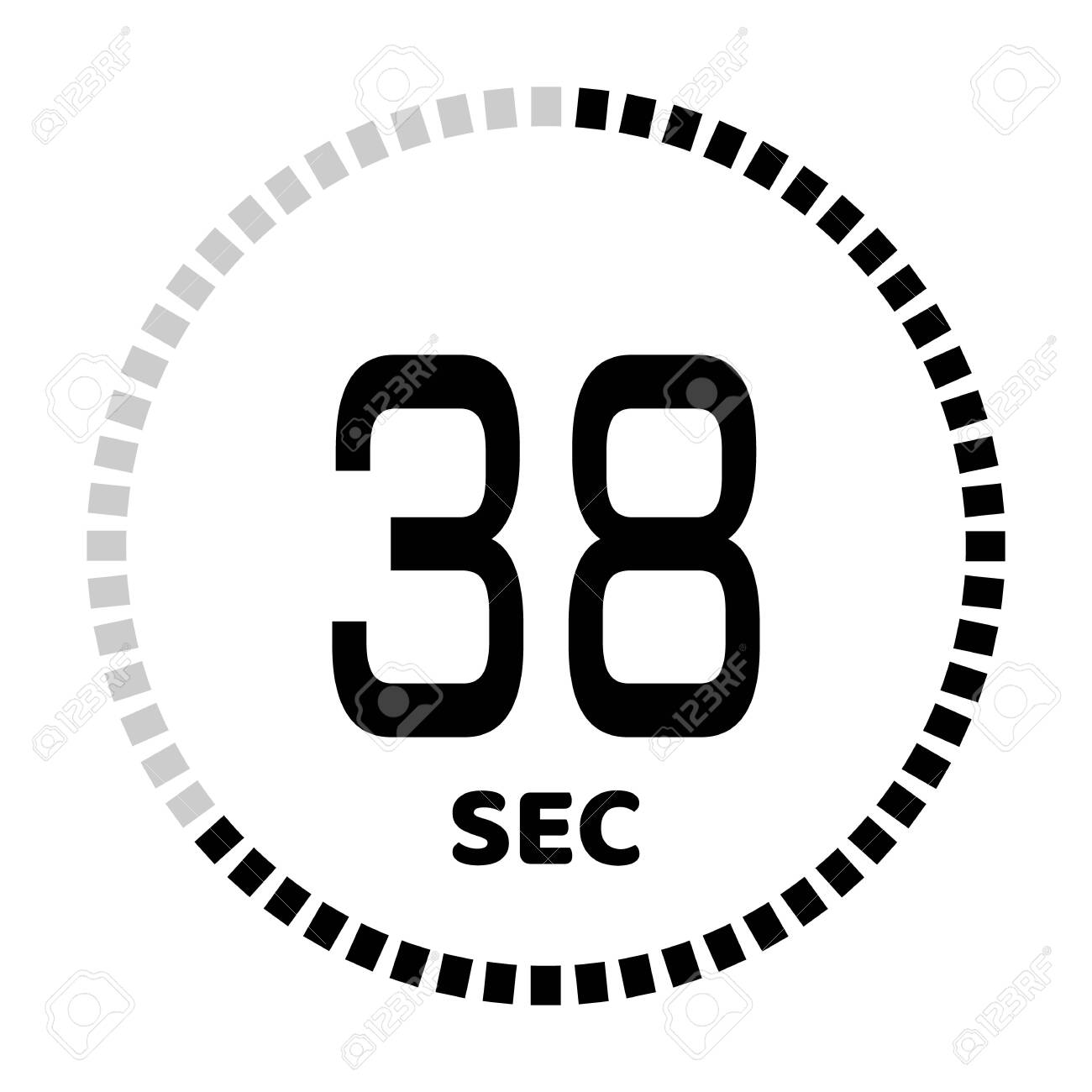 The 38 seconds, stopwatch icon, digital timer. Digital Countdown Timer Vector Icon. Clock and watch, timer. - 127834334