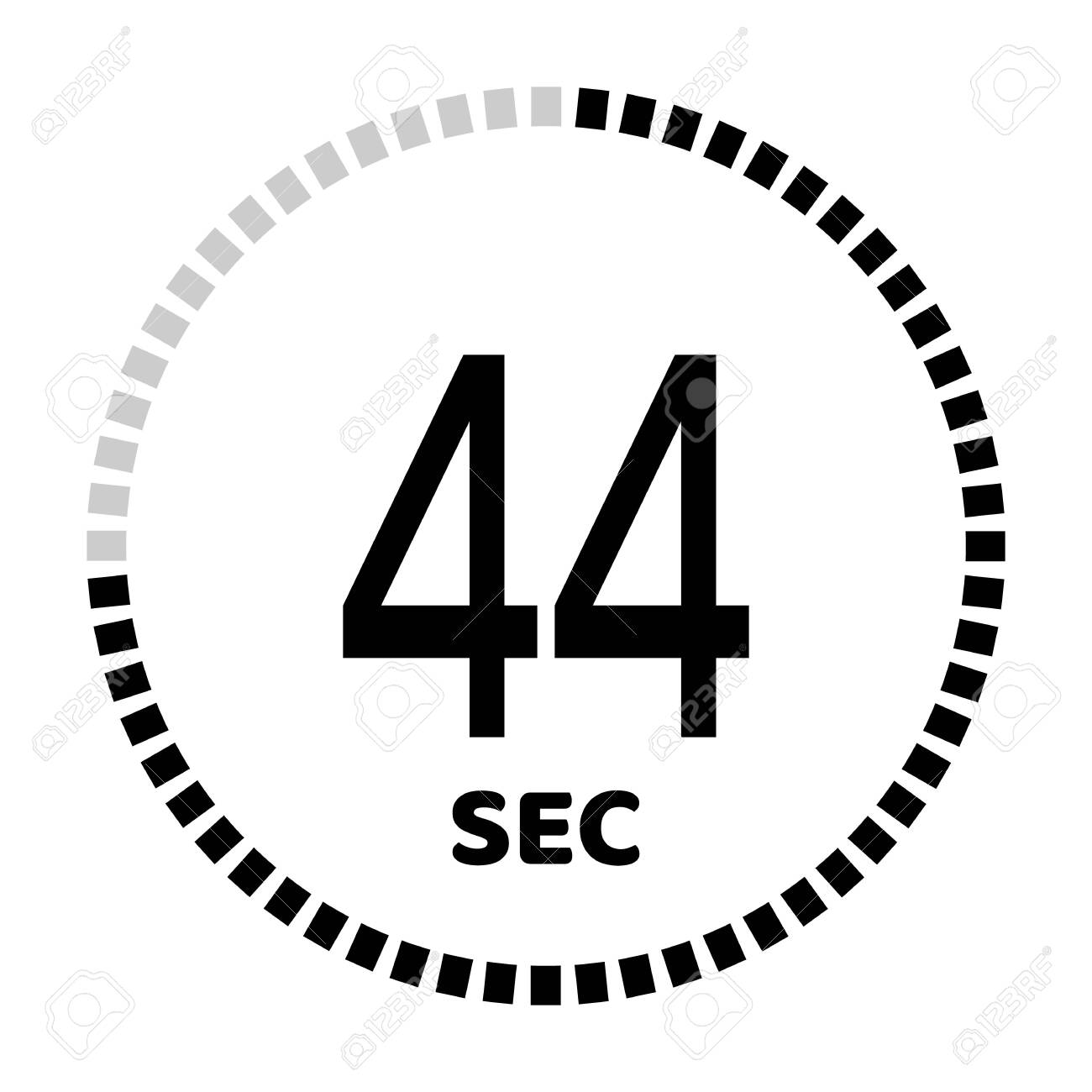 The 44 seconds, stopwatch icon, digital timer. Digital Countdown Timer Vector Icon. Clock and watch, timer. - 127834341