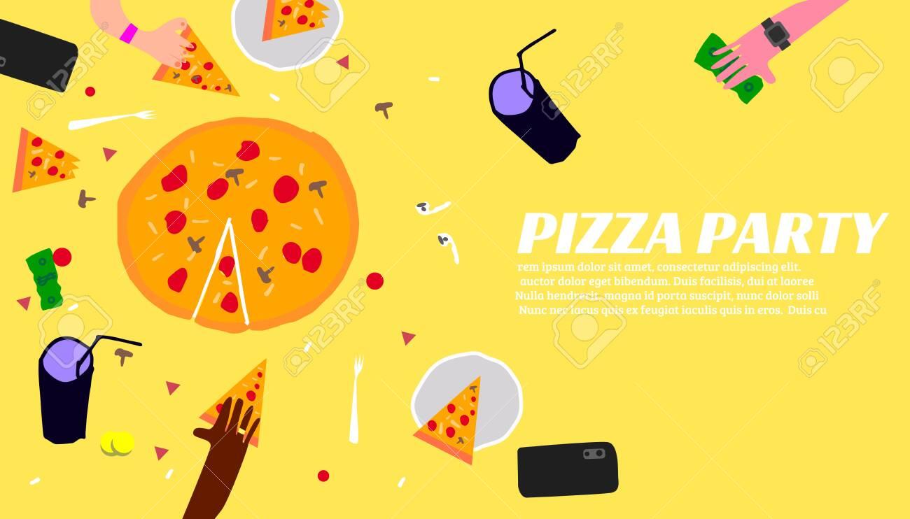 Pizza Party Template Banner With Pizza Ingredients Lizenzfrei Nutzbare  Vektorgrafiken, Clip Arts, Illustrationen. Image 121910046.