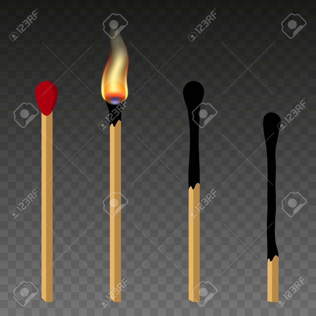 Matches, lighted match and burned match. Burning match with fire, opened matchbox, burnt matchstick. Flat design style. - 137846820