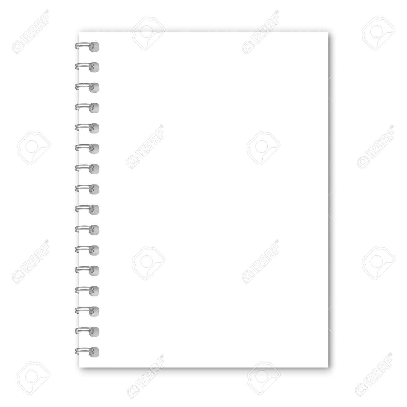Blank realistic spiral notepad mockup. Blank diary with cover for note. Clear notebook front page or clean page with shadow. Vector illustration - 156787629