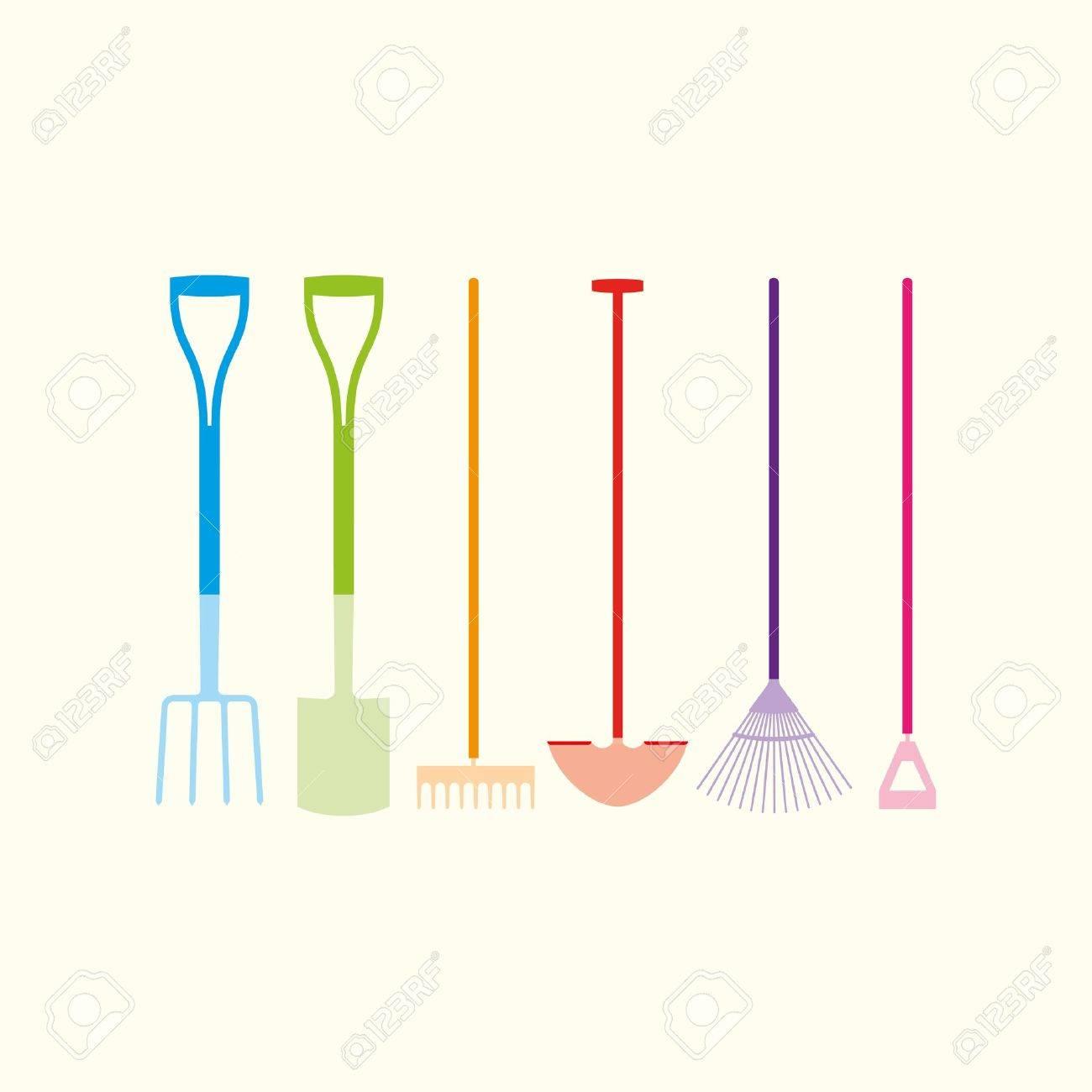 Six colourful garden hand tools Stock Vector - 11280581