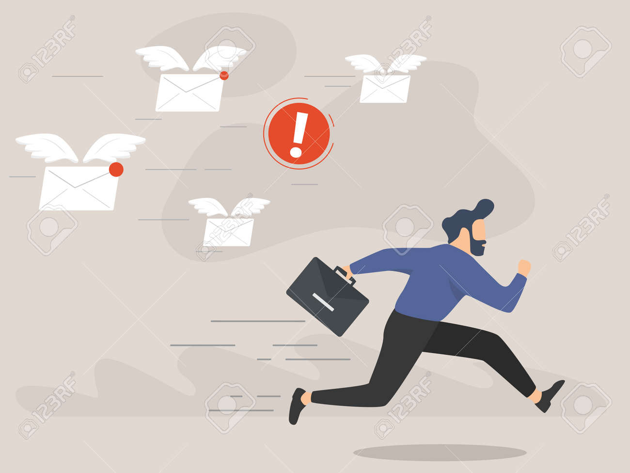 A frightened businessman is running away from a plenty emails chasing him - 168287719