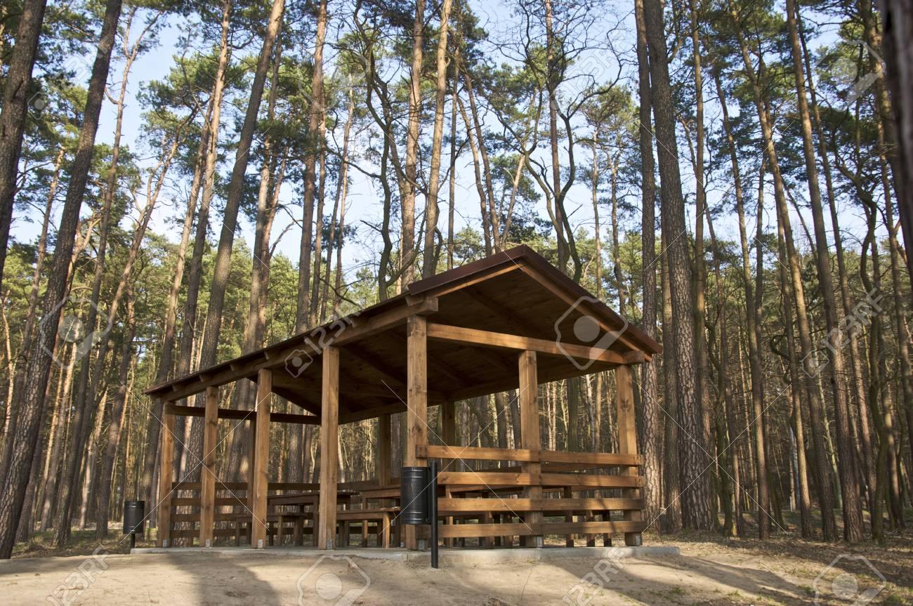 Terrasse Abritée En Bois Au Milieu Des Bois Polonais Banque D\'Images ...